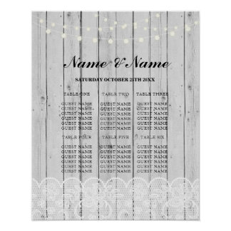 Table Wedding Rustic Lace Grey Wood Poster Seating