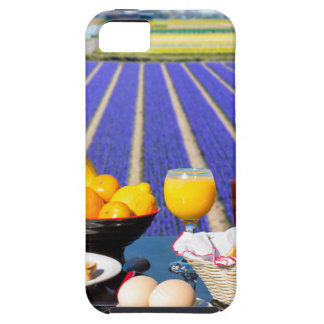 Table with food and drink near flowers field iPhone 5 case