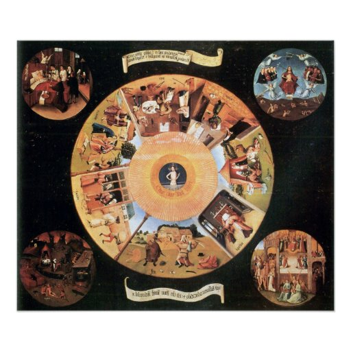 Table with scenes of the seven deadly sins by Bosc Posters