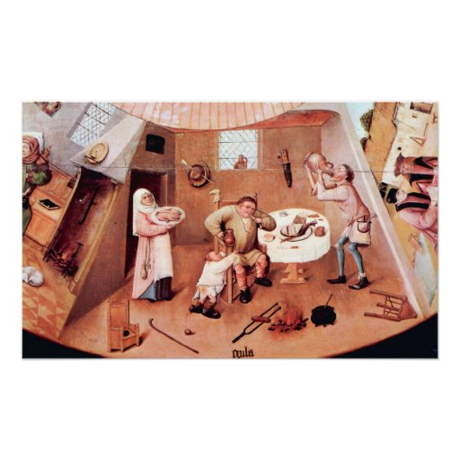 Table with scenes of the seven deadly sins detail poster