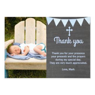 Tableau de bleu de carte photo de note de Merci de