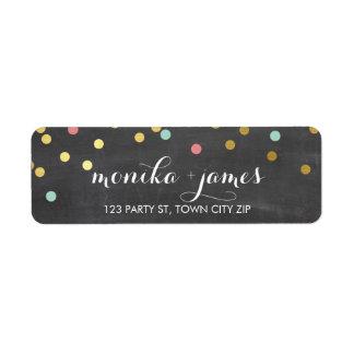 Tableau de corail de menthe d'or de confettis étiquette d'adresse retour