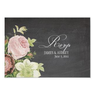 Tableau de rsvp de PixDezines+roses vintages Carton D'invitation 8,89 Cm X 12,70 Cm