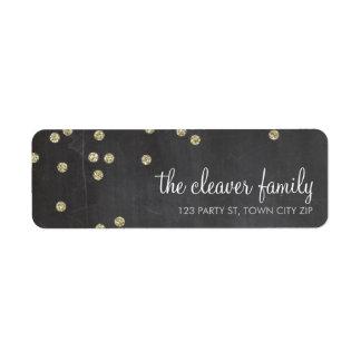 Tableau de scintillement d'or de confettis étiquettes d'adresse retour