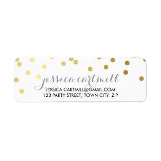 Tableau d'or de point de polka de confettis étiquettes d'adresse retour