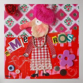 Tableau mamie-rose affiche