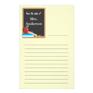 Tableau noir de professeurs stationnaire papier à lettre customisé