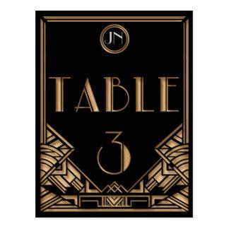 Tableau noir numéro 3 de style de Gatsby d art déc Carte Postale