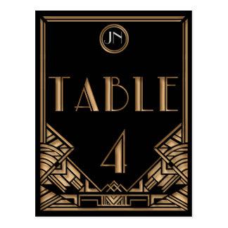 Tableau noir numéro 4 de style de Gatsby d'art déc Cartes Postales