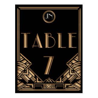 Tableau noir numéro 7 de style de Gatsby d art déc Carte Postale
