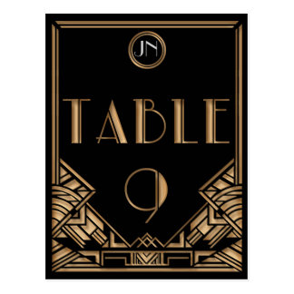 Tableau noir numéro 9 de style de Gatsby d art déc Cartes Postales
