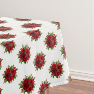"Tablecloth ""60x84"" Christmas Red Rose & Holly"