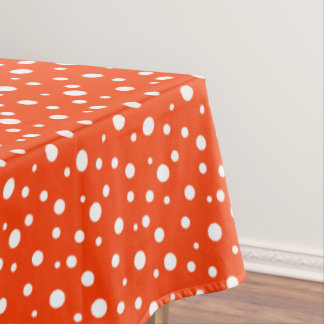 "Tablecloth ""60x84"" Orange & White Polka Dots"