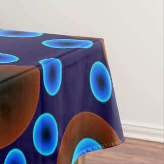 Tablecloth retro blue brown dots