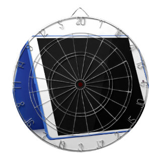 Tablet computer on white dartboard