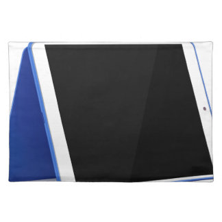 Tablet computer on white placemat
