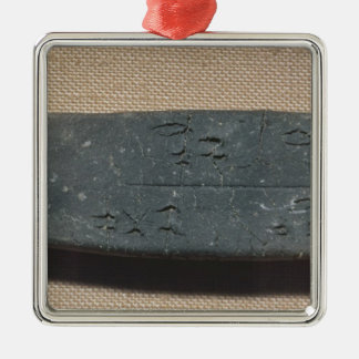 Tablet inscribed in 'Linear B'  sheep Silver-Colored Square Ornament