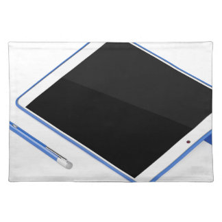 Tablet on stand and digital pen placemat