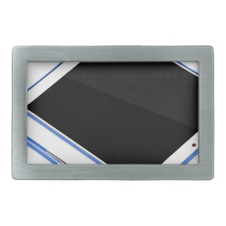 Tablet on stand and digital pen rectangular belt buckle