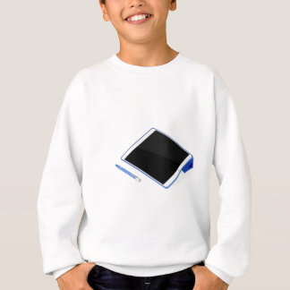 Tablet on stand and digital pen sweatshirt