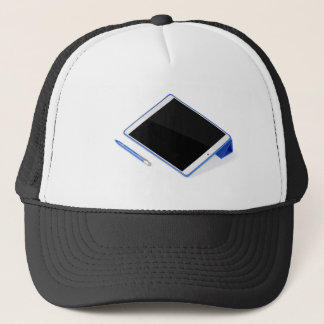 Tablet on stand and digital pen trucker hat