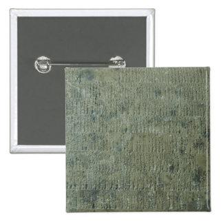 Tablet with cuneiform script 2 inch square button