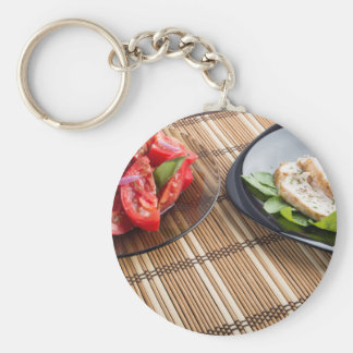 Tabletop with homemade dishes basic round button keychain