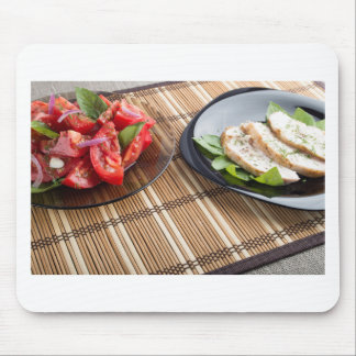 Tabletop with homemade dishes mouse pad