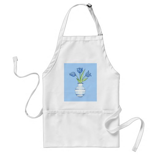 Tablier de bleu de tulipes bleues