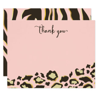 Taches de léopard et Merci de rayures de tigre Carton D'invitation 10,79 Cm X 13,97 Cm