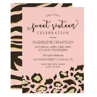 Taches de léopard et sweet sixteen de rayures de carton d'invitation  12,7 cm x 17,78 cm