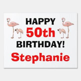 Tacky Happy Birthday Pink Flamingo Bird Custom Age