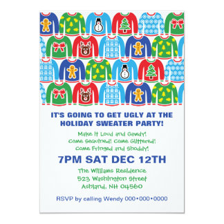 """Tacky Holiday Sweater Party Ugly Sweater 5"""" X 7"""" Invitation Card"""