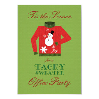 """Tacky Sweater Office Christmas Party 5"""" X 7"""" Invitation Card"""