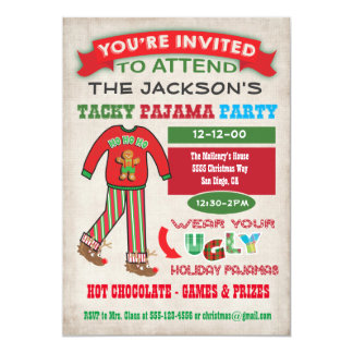 Tacky Ugly Christmas Pajamas Party invitation