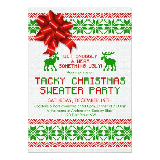 Ugly Christmas Sweater Party Invite.Tacky Ugly Christmas Sweater Party Invitation