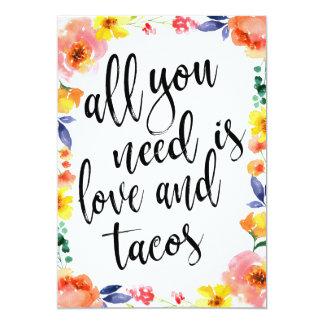 Taco bar affordable boho floral sign card