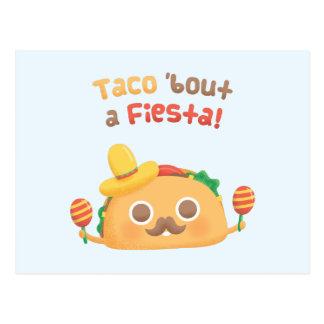 Taco Bout A Fiesta Cute Food Pun Humor Postcard