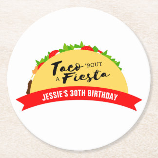 Taco 'Bout A Fiesta Round Paper Coaster
