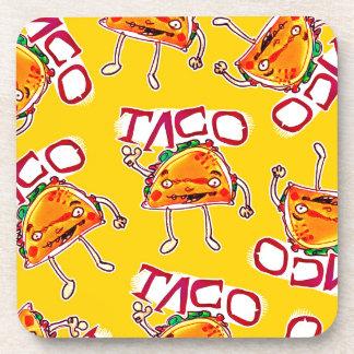 taco cartoon style funny illustration coaster