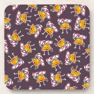 taco cartoon style funny illustration pattern coaster