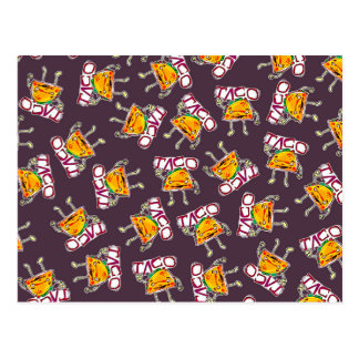 taco cartoon style funny illustration pattern postcard