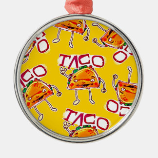 taco cartoon style funny illustration Silver-Colored round ornament