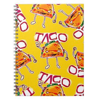 taco cartoon style funny illustration spiral notebook