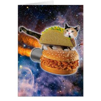 taco catand rockethamburger in the universe card