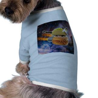 taco catand rockethamburger in the universe doggie tee shirt