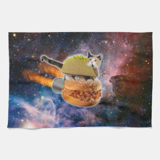 taco cat and rocket hamburger in the universe kitchen towels
