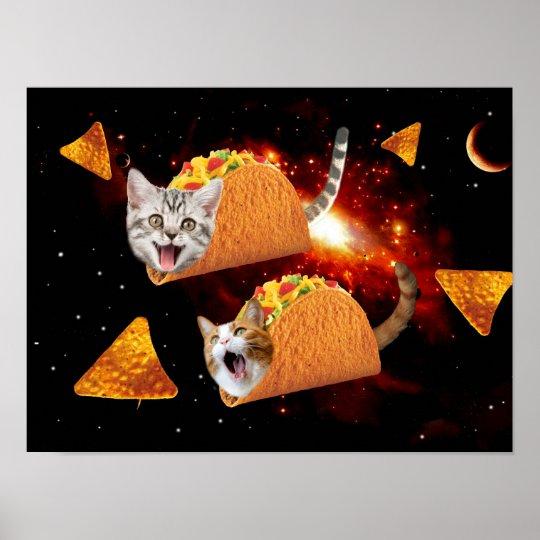 Taco Cats Space Poster Zazzle Ca