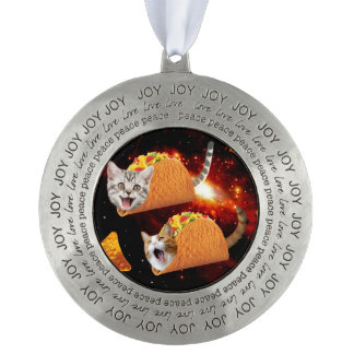 Taco Cats Space Round Pewter Ornament