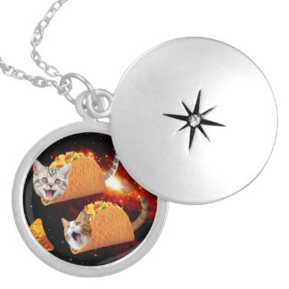 Taco Cats Space Silver Plated Necklace